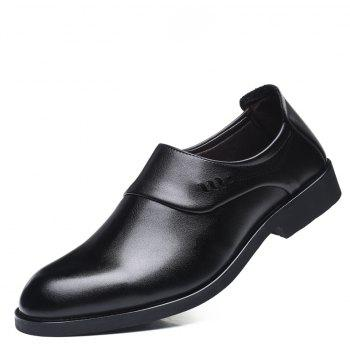 ZEACAVA Men Microfiber Leather Slip On Business Casual Shoes - BLACK 39