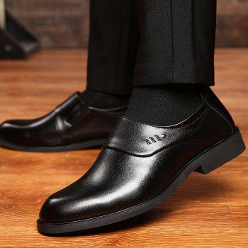 ZEACAVA Men Microfiber Leather Slip On Business Casual Shoes - BLACK 40