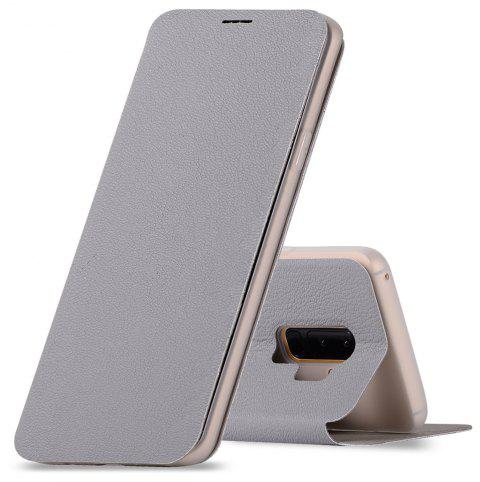 Minismile Fibre Flip Case for Samsung Galaxy S9 with Wallet / Holder / Card Slot - LIGHT GRAY