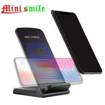Minismile 10W Dual-coil Fast Wireless Charger Stand with Quick Charge Adapter - BLACK