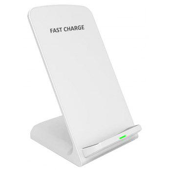 Minismile 10W Dual-coil Fast Wireless Charger Stand with Quick Charge Adapter - WHITE