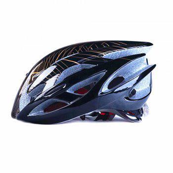 Mountain Bike Warning Lamp with Warning Insect Resistant Net Riding Helmet - BLACK