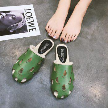 Fashionable Baotou Hollow Slippers - GREEN 40