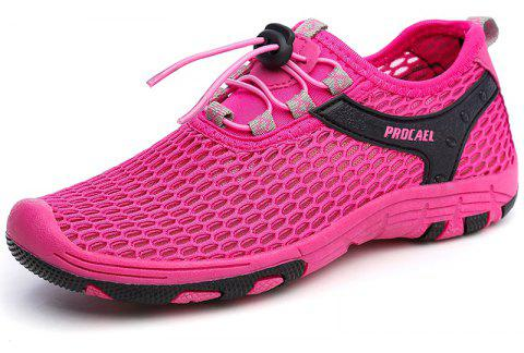 Beach Lightweight Swimming Breathable Sandals Shoes Comfort Flats Sneakers - ROSE RED 38