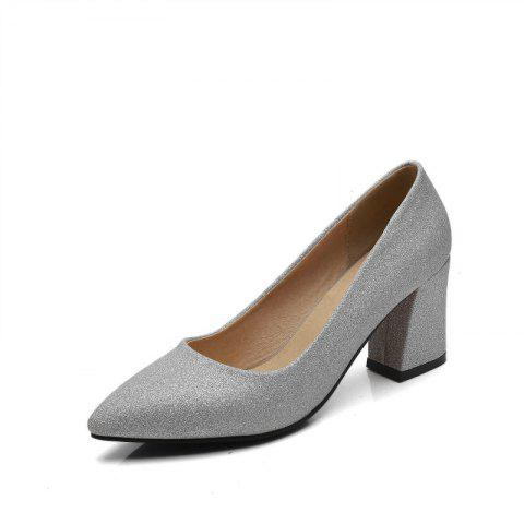 Commuter Pointed High Heeled Leisure Women Shoes - SILVER 36
