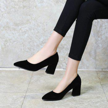 Commuter Pointed High Heeled Leisure Women Shoes - BLACK 38