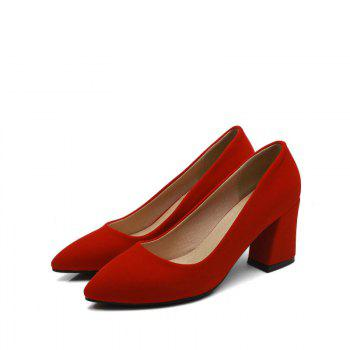 Commuter Pointed High Heeled Leisure Women Shoes - RED 40