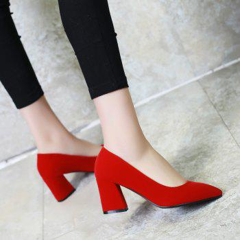 Commuter Pointed High Heeled Leisure Women Shoes - RED 42