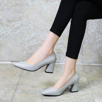 Commuter Pointed High Heeled Leisure Women Shoes - SILVER 32