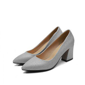 Commuter Pointed High Heeled Leisure Women Shoes - SILVER 35