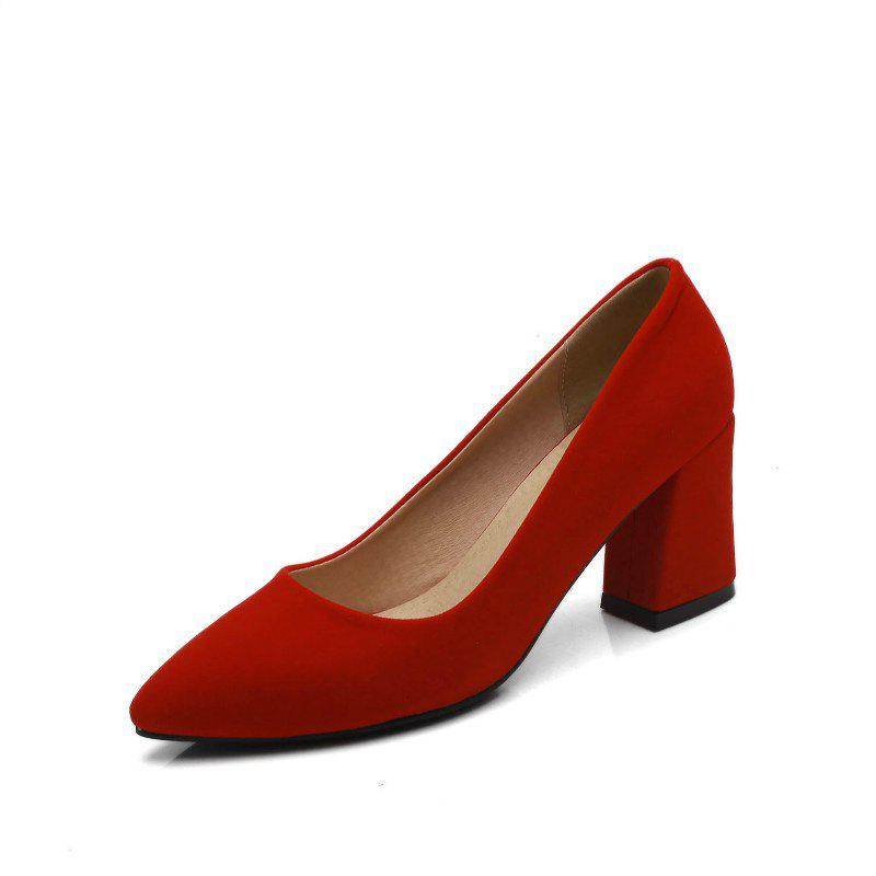 Commuter Pointed High Heeled Leisure Women Shoes - RED 36
