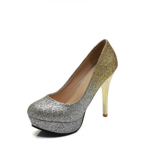 Super High Heel Waterproofing Women Shoes - GOLD 40