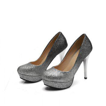 Super High Heel Waterproofing Women Shoes - SILVER 36