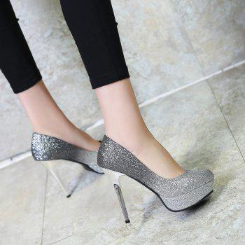 Super High Heel Waterproofing Women Shoes - SILVER 38