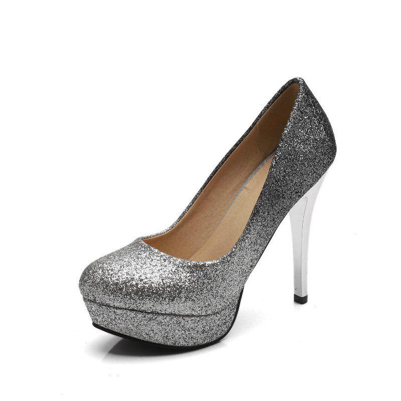 Super High Heel Waterproofing Women Shoes - SILVER 34
