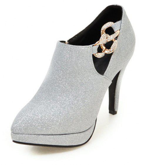 Sexy Sanding High Heeled Women Shoes - SILVER 34