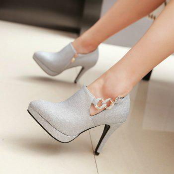 Sexy Sanding High Heeled Women Shoes - SILVER 36
