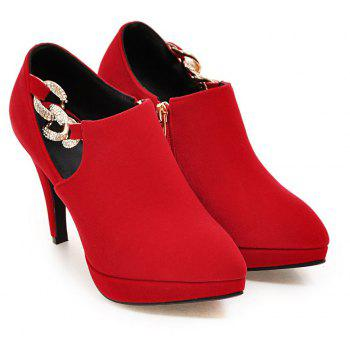 Sexy Sanding High Heeled Women Shoes - RED 35
