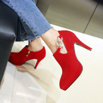 Sexy Sanding High Heeled Women Shoes - RED 37