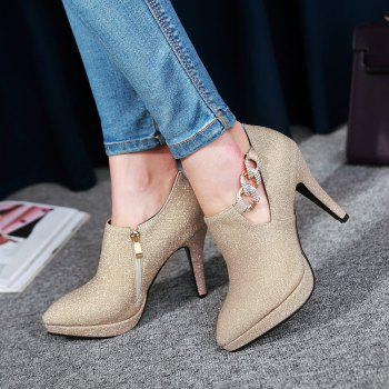 Sexy Sanding High Heeled Women Shoes - GOLD 33
