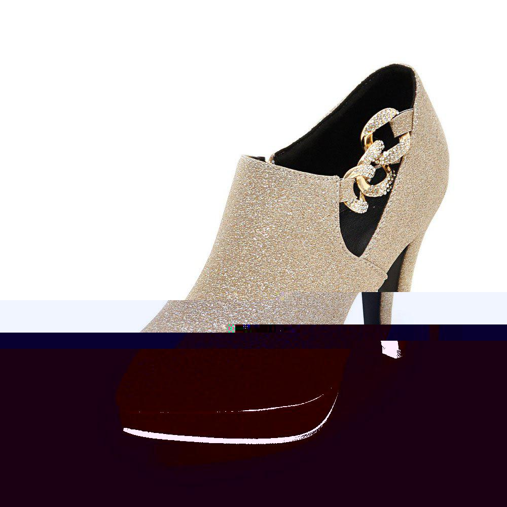 Sexy Sanding High Heeled Women Shoes - GOLD 43
