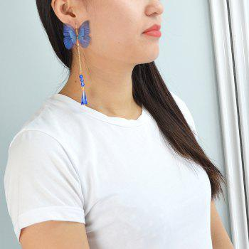 Blue Color Butterfly Drop Party Earrings - BLUEBERRY BLUE