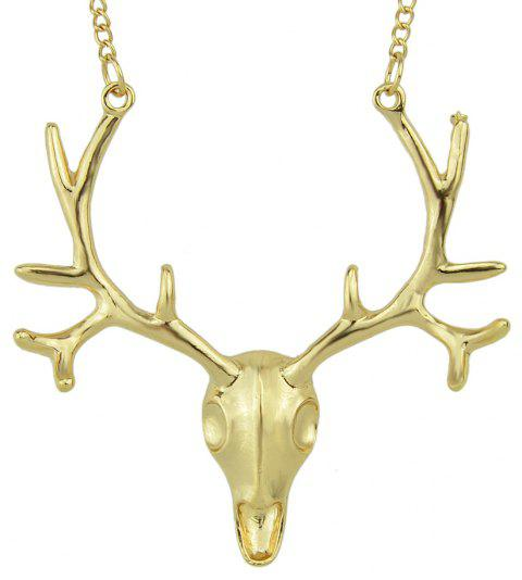 Gold-Color and Antique Color Deer Head Pendant Necklace - YELLOW