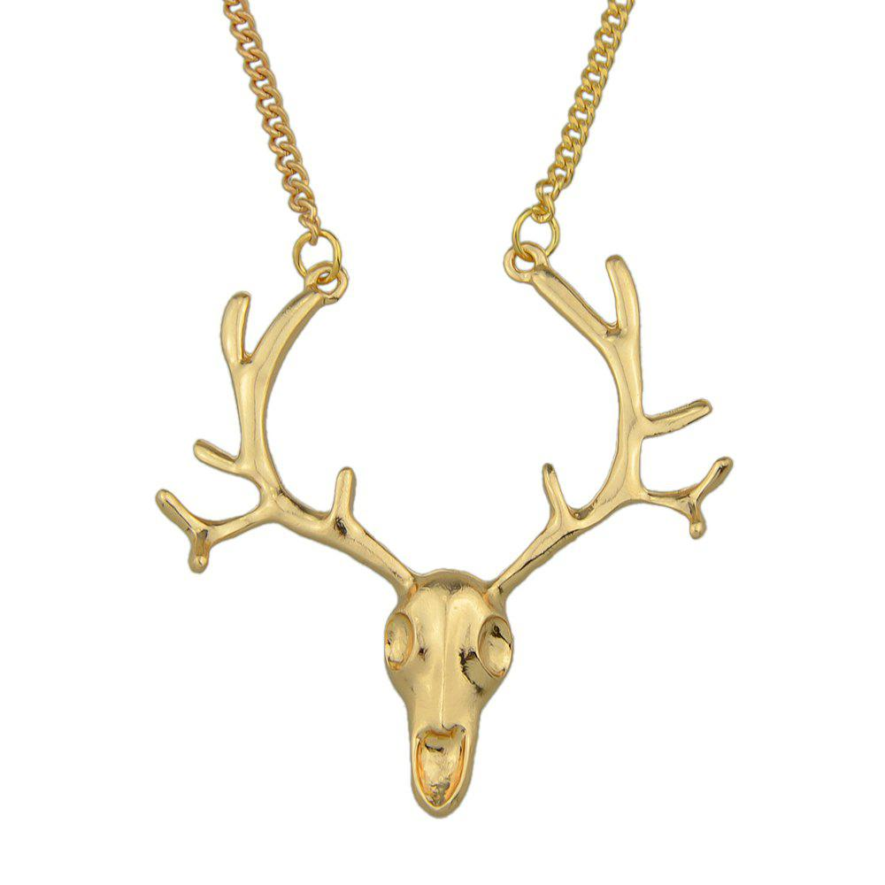 Gold-Color and Antique Color Deer Head Pendant Necklace - GOLDEN BROWN