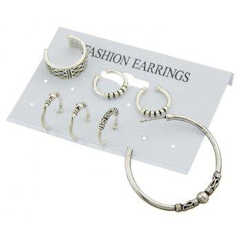 Cuff Antique Silver Color Circle Hoop Earrings - GRAY CLOUD