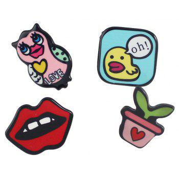 OwL Lip Plant Small Duck Letter Brooches - BLACK