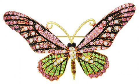 Colorful Rhinestone Butterfly Brooch Pins For Women - ROSE RED