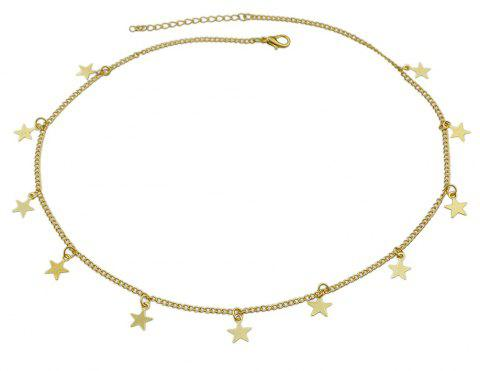 Silver Gold-Color Chain with Star Charm Maxi Necklace - GOLD