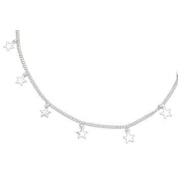 Silver Gold-Color Chain with Star Charm Maxi Necklace - SILVER