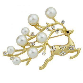 Rhinestone Simulated-pearl Lovely Deer Brooches - ROSE GOLD