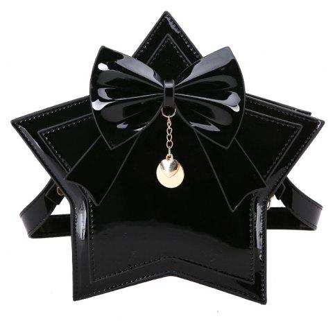 Pentacle Handbag Glossy Shoulder Crossbody Bag - BLACK
