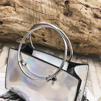 Hoops Handbag Shiny Shoulder Crossbody Bag - SILVER