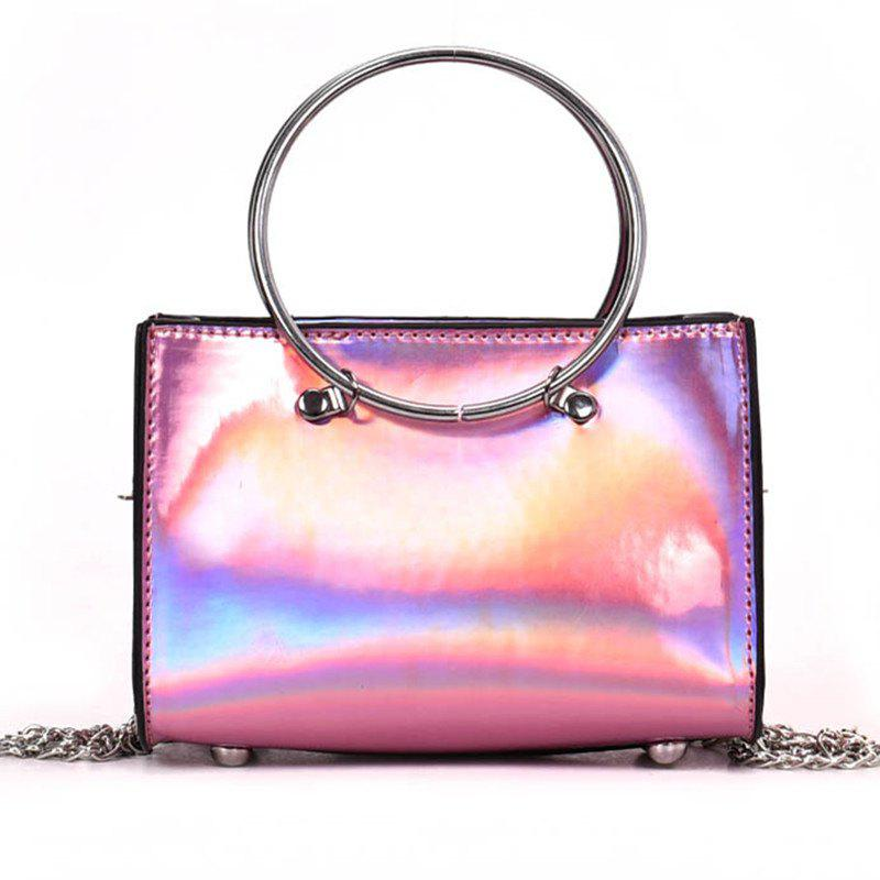 Hoops Handbag Shiny Shoulder Crossbody Bag - PINK ROSE