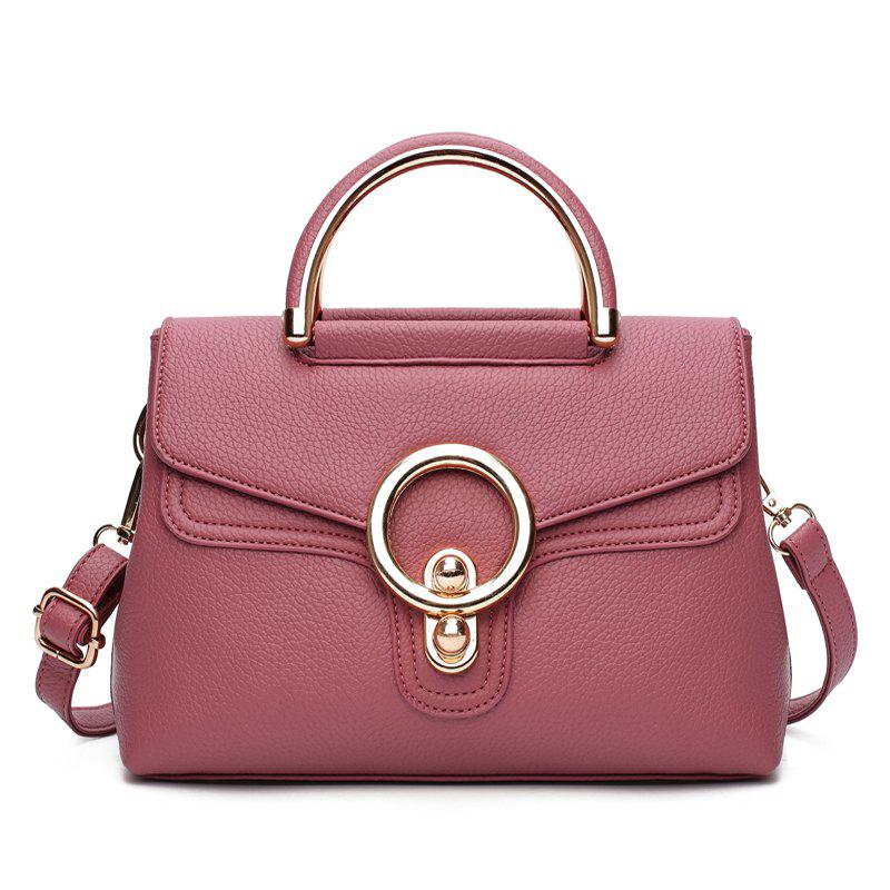 Fashion Ring Shoulder Messenger Bag Hadbag - LIPSTICK PINK
