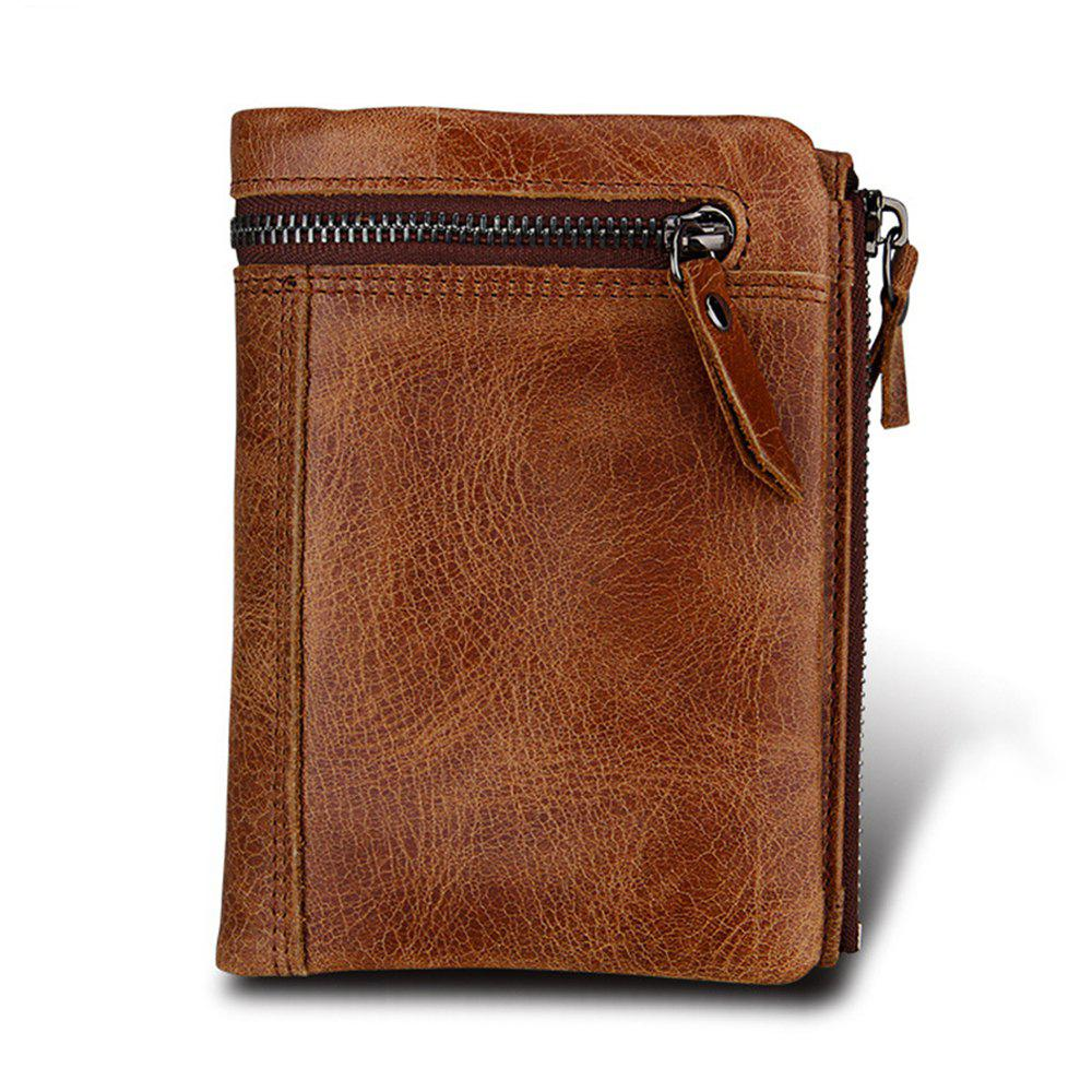 Men Wallet Genuine Leather Rfid Wallets Organizer Coin Short Purse contact s hot genuine crazy horse cowhide leather men wallet short coin purse small vintage wallet brand high quality designer