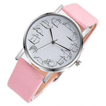 Lovely Cat Analog Alloy Quartz Watch Clock Leather - COTTON CANDY