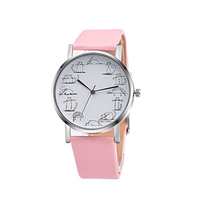 Lovely Cat Analog Alloy Quartz Watch Clock Leather, Cotton candy
