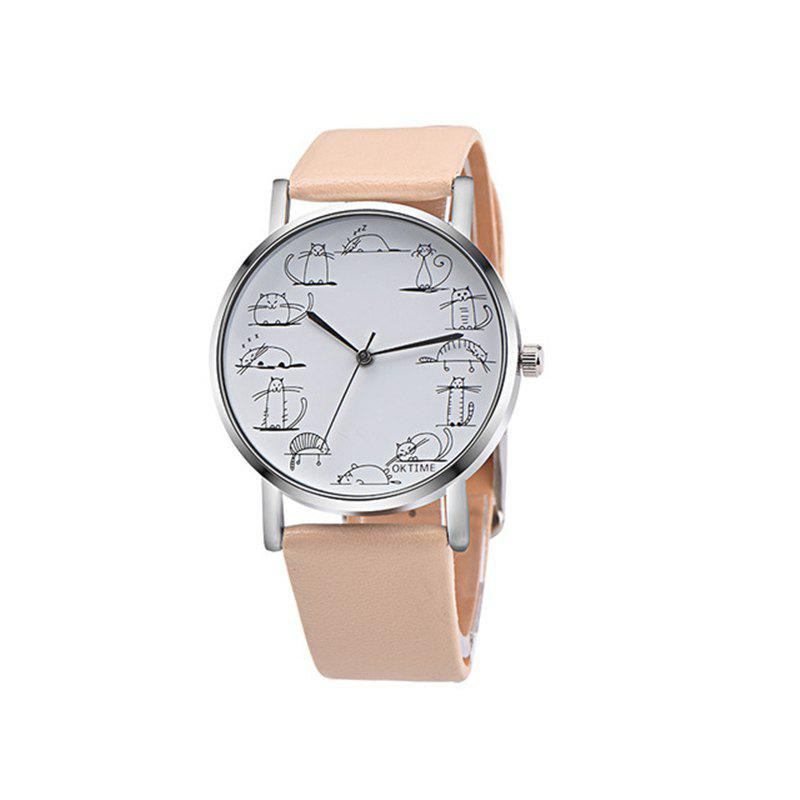 Lovely Cat Analog Alloy Quartz Watch Clock Leather - GOLD