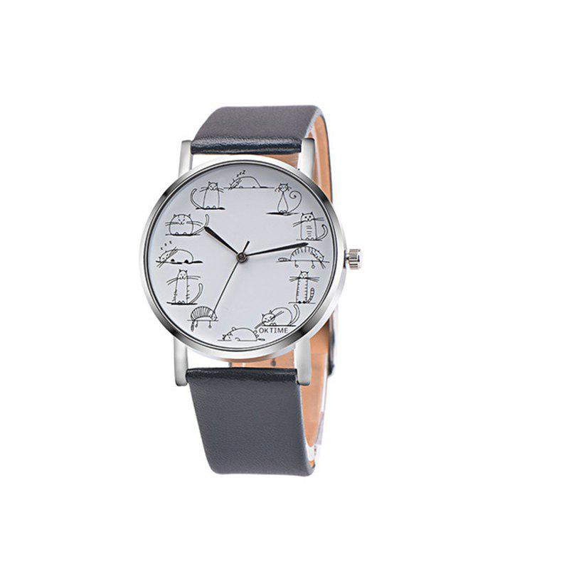 Lovely Cat Analog Alloy Quartz Watch Clock Leather - BLACK