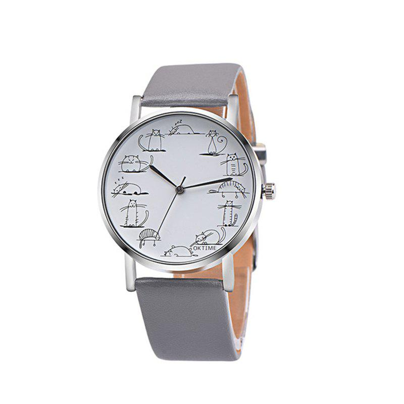 Lovely Cat Analog Alloy Quartz Watch Clock Leather - GRAY CLOUD