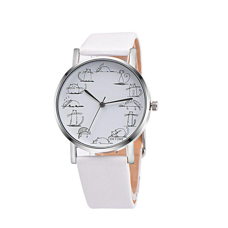 Lovely Cat Analog Alloy Quartz Watch Clock Leather - WHITE