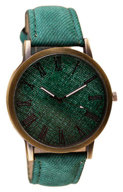 PU Leather Band Round Dial Retro Unisex Quartz Watch - BEETLE GREEN