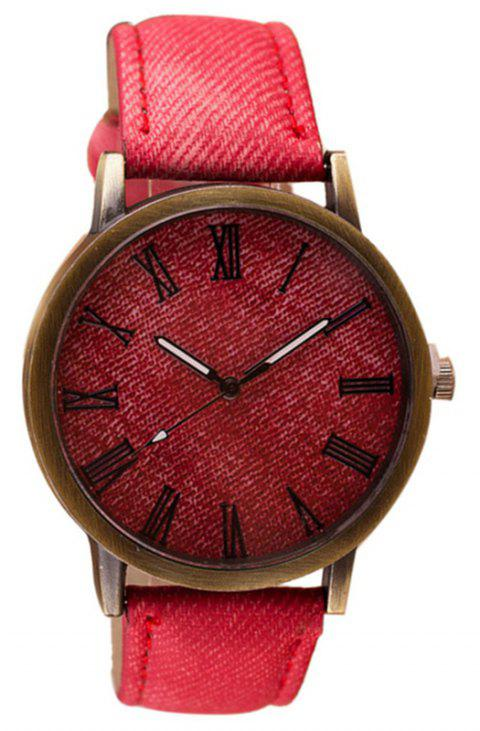 PU Leather Band Round Dial Retro Unisex Quartz Watch - RED