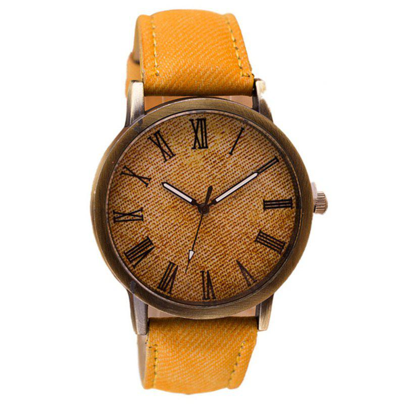 PU Leather Band Round Dial Retro Unisex Quartz Watch - MACARONI/CHEESE