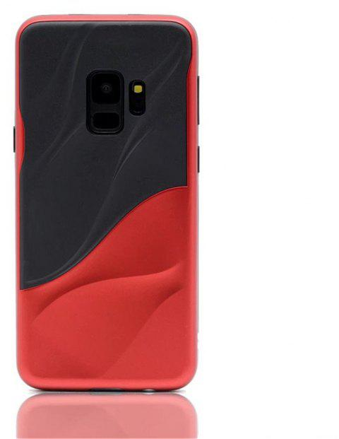 Cover Case for Samsung S9 Silicone TPU+PC Hybrid Protective Water Ripples - RED