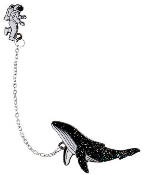Astronauts Into Space Whales Drip Brooch Coat Collar Needle Accessories - BLACK